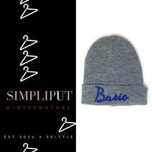 MUDD Gray Knit Beanie Blue Basic Embroidery Unisex